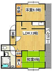 麻亜呂コーポ[2階]の間取り