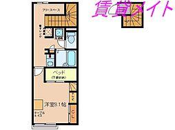 三重県伊勢市中村町の賃貸アパートの間取り