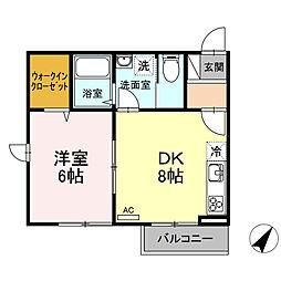 仮)D-room北加瀬 2階1DKの間取り