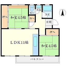 箕面粟生第二住宅2棟[3階]の間取り