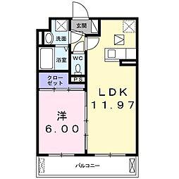 JR片町線(学研都市線) 鴻池新田駅 徒歩17分の賃貸アパート 1階1LDKの間取り