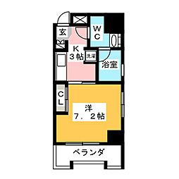 中駒一宮駅東マンション[6階]の間取り