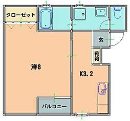JR日豊本線 国分駅 徒歩20分の賃貸マンション 2階1Kの間取り