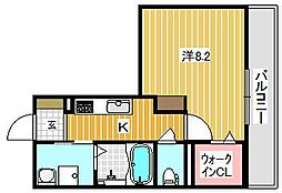 大阪府茨木市西中条町の賃貸マンションの間取り