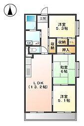 愛知県名古屋市北区如意1丁目の賃貸マンションの間取り