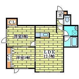 ツインコートプラスティ[3階]の間取り