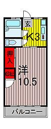 平田マンション[406号室]の間取り