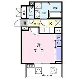 小田急小田原線 東海大学前駅 徒歩6分の賃貸アパート 2階1Kの間取り