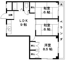滋賀県近江八幡市西本郷町の賃貸マンションの間取り