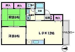エスポワール21 1階2LDKの間取り