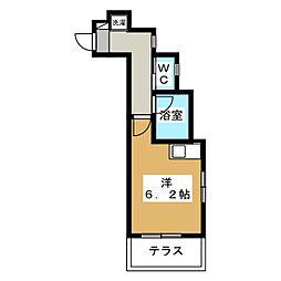 パストラル西生田 1階ワンルームの間取り