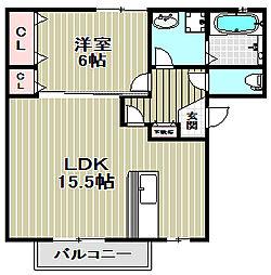 大阪府堺市堺区九間町東2丁の賃貸アパートの間取り