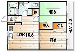 ユーハイム広徳[2階]の間取り