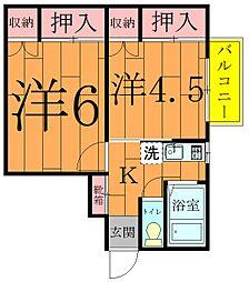 第7飯田柏コーポラス[2階]の間取り