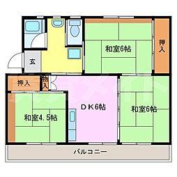 ビレッジハウス名張 2号棟[2階]の間取り