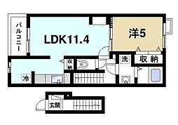 奈良県奈良市大安寺2の賃貸アパートの間取り