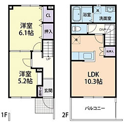 CASA・杜 1階2LDKの間取り
