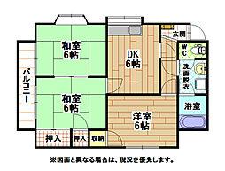 福岡県北九州市八幡西区鷹の巣3丁目の賃貸アパートの間取り