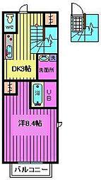 埼玉県さいたま市浦和区北浦和1丁目の賃貸アパートの間取り