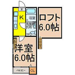 愛知県名古屋市守山区小幡1丁目の賃貸アパートの間取り