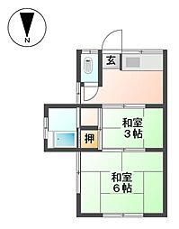 第2栗本荘[2階]の間取り