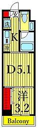 One ROOF Residence Kiba WEST 10階1DKの間取り