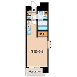 仙台市地下鉄東西線 大町西公園駅 徒歩4分の賃貸マンション 9階ワンルームの間取り
