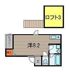 埼玉県蕨市塚越7丁目の賃貸アパートの間取り