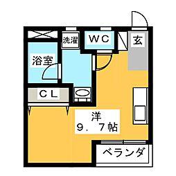 K's AP並木元町 2階ワンルームの間取り