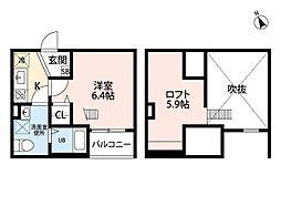 愛知県名古屋市守山区新守西の賃貸アパートの間取り