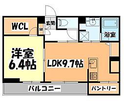 仙台市営南北線 北四番丁駅 徒歩13分の賃貸アパート 1階1LDKの間取り