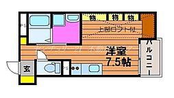 岡山電気軌道清輝橋線 東中央町駅 徒歩5分の賃貸アパート 1階ワンルームの間取り