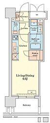 グランドプレシア芝浦 15階ワンルームの間取り