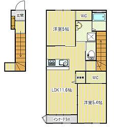 長野県飯田市松尾新井の賃貸アパートの間取り