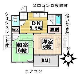楠元マンション[3A号室]の間取り