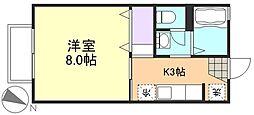 岡山県倉敷市連島町西之浦の賃貸アパートの間取り