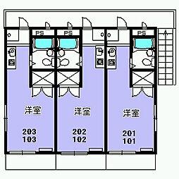 パラシオン富士見[202号室]の間取り