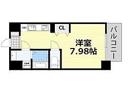 新梅田セントラルヒルズ 8階ワンルームの間取り
