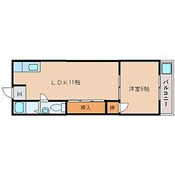 近鉄生駒線 平群駅 徒歩1分の賃貸マンション 3階1LDKの間取り