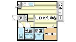 兵庫県姫路市大津区勘兵衛町2の賃貸アパートの間取り