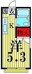 東京都足立区竹ノ塚6丁目の賃貸アパートの間取り