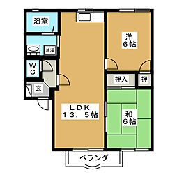 スリーゼ A[2階]の間取り