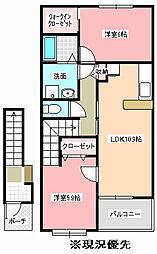 茨城県那珂市杉の賃貸アパートの間取り