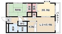 愛知県名古屋市緑区桶狭間切戸の賃貸アパートの間取り