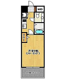テラロッサ西新[12階]の間取り