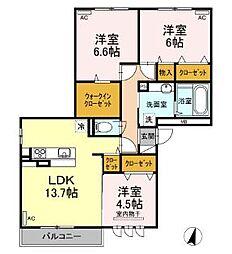 広島県福山市明治町の賃貸アパートの間取り