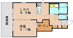 サンライズハイムA 1階1LDKの間取り