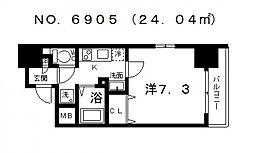 ポルト・ボヌール四天王寺夕陽ヶ丘ミラージュ[601号室号室]の間取り