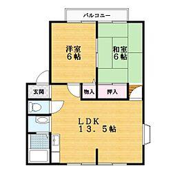 大阪府四條畷市砂3丁目の賃貸アパートの間取り