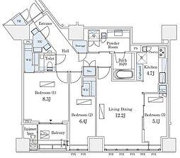 東京メトロ半蔵門線 半蔵門駅 徒歩3分の賃貸マンション 4階3LDKの間取り